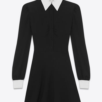 Saint Laurent Classic Shirt Dress In Black Sablé | ysl.com