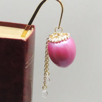 Pink Egg Bookmark, Egg Page Marker, Shepherd Hook, Egg Ornament