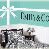 "Tiffany and Co. vinyl wall art decal Bow with Ribbon Lines and Personalized Name ""& Co."" vinyl wall lettering stickers"