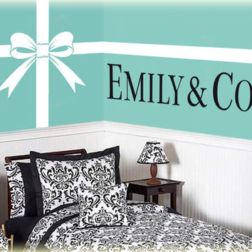 Tiffany and Co. vinyl wall art decal Bow from PersnicketyWallViny