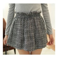*Free Shipping* Black Elasic Waist Plaid Pleated Wool Blend Fitting Skirt