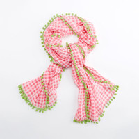 Shop Gingham Pom Pom Scarf at vineyard vines