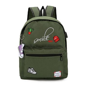 School Backpack Teens Canvas school bags for teenage girls Backpack Schoolbag Women Usb Large capacity Student Bags Black book bag for teenagers AT_48_3