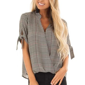 Black and Garnet Red Plaid Top with Tie Detail on Sleeves
