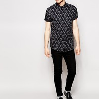 ASOS Shirt With Short Sleeves And Ikat Print