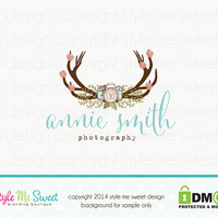 Custom Premade Photography Logo - Camera Antlers Flower Logo Design Hand Drawn Watermark Photographer Logo