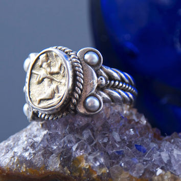 Ancient Coin Ring - Greek Soldier - Sterling Silver - Seed Pearl Accents