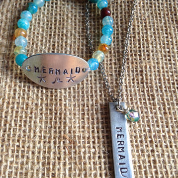 Mermaid Beach Jewelry - Hand Stamped Agate Bracelet - Personalized Jewelry - Ocean Inspired - Surf SUP gifts for her