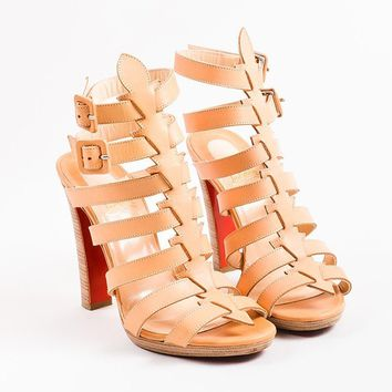 KUYOU Christian Louboutin Beige Leather Platform Neronna Gladiator Sandals
