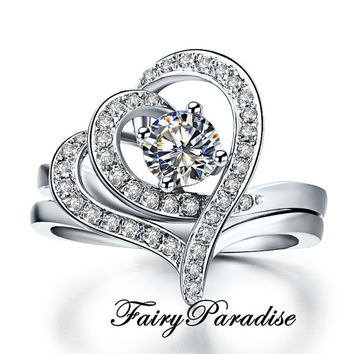 Unique 2 pcs Stacking Engagement Ring Set : 0.5 ct Round Man Made Diamond Promise Ring in 925 silver platinum plated, Double Heart Shape