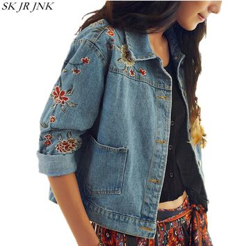 2017 Spring New Women Slim Fit Denim Jacket Vintage Female Embroidered Jean Jacket Loose Casual Fashion Women Basic Coats LYL67
