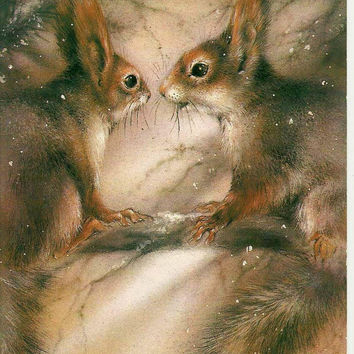 Squirrels on pine - Vintage  Russian Postcard 1988