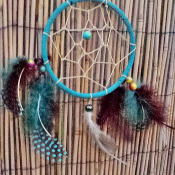 "Handmade 5"" Dream Catcher, Legend of the Dreamcatcher, Native American Indian Wall Hanging Decor, Feathers, Good Dreams, Housewarming Gift"