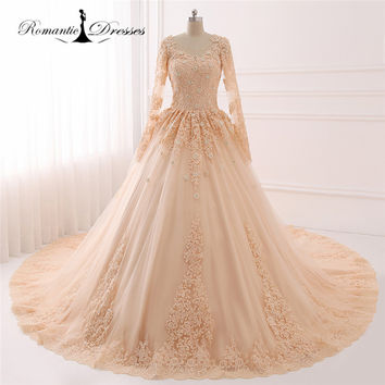 2017 100% Real Photos Jewel Neck Long Sleeve Ball Gown Champagne Wedding Dresses Vestidos De Novia Back Layers Bridal Gowns