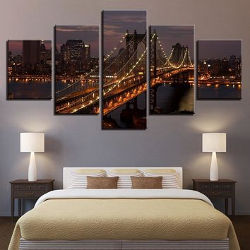 Canvas Paintings Living Room Decor Pictures 5 Pieces Manhattan Bridge New York City Night Landscape Posters Wall Art Framework