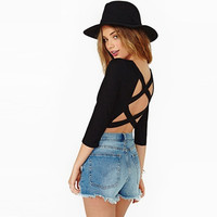 Black Cross-Back Sleeve Crop Shirt