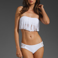 Tori Praver Swimwear Dusty Fringe Bandeau in White from REVOLVEclothing.com