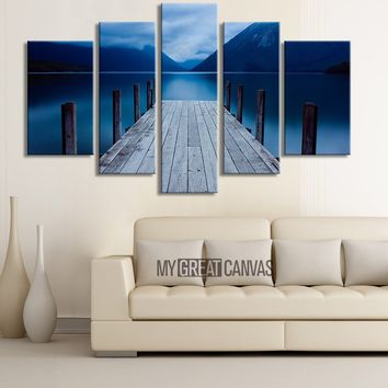 LARGE CANVAS Wall Art - Solar Sunrise Wood Pier at Twilight Canvas Print 5 Panel for Great Home Decorations - Blue Sky Skyline Wooden Pier