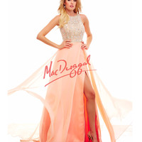 Embellished Bodice Peach Gown