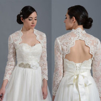 Long Sleeves Alecon Lace Bolero with Keyhole Back Bridal Wrap Jacket for Brides