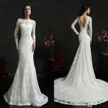 Amelia Sposa Lace Mermaid Wedding Dresses Vintage Ivory Bateau Long Sleeves Sash Backless Court Train