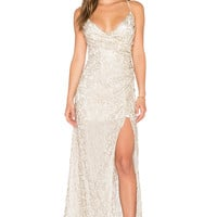 THE JETSET DIARIES Island Lover Dress in Light Gold Sequin