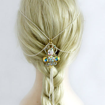 Bridal Hair Jewelry, Wedding Head Piece, Crystal Head Chain