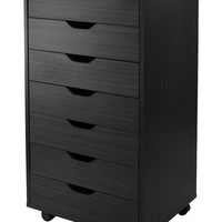 Halifax Cabinet for Closet / Office, 7 Drawers, Black