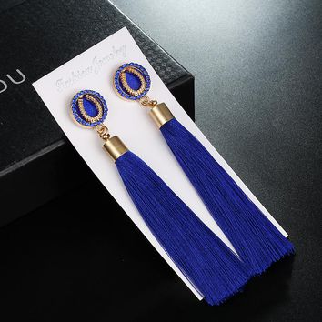 2018 christmas gift Fashion Romantic statement women Drop earrings Lucky horseshoe Long Tassel earrings Women Wedding Jewelry