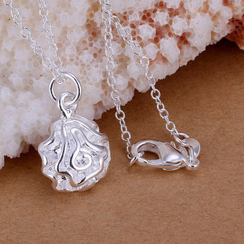 silver plated pendant Small Rose bead necklace floating charms