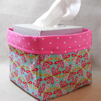Pretty Multi-Colored Pinwheel Pattern Fabric Basket