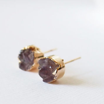 Raw Amethyst Druzy Earrings Gold Round Druzy Earrings Druzy Stud Earrings Gold Plated Drusy Earrings Agate Druzy Stud
