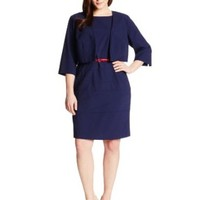 AGB Women's Plus-Size Sleeveless Dress with Crop Jacket