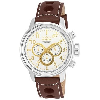 INVICTA S1 Rally Mens Chronograph - Stainless & Gold-Tone - Brown Leather Strap