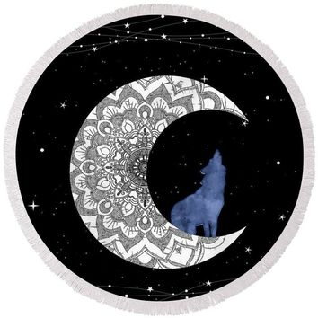 Moon Wolf Stars - Round Beach Towel