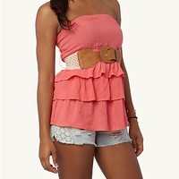 Macrame Belted Tiered Tube Top