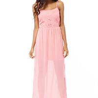 Coral Chiffon Maxi Dress AVAILABLE IN PLUS SIZES-Coral-UK 8 - EU 36