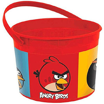 "Amscan Angry Birds Plastic Birthday Party Favor Container, 4.75 x 7.25"", Red"