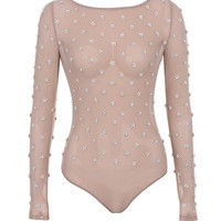 Clothing : Bodysuits : 'Kaeja' Nude Embellished Crystal and Pearl Bodysuit