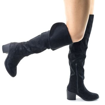 Louie03 Black Faux Suede Faux Suede Thigh High Over Knee Boots w Block Heel & Foldable Flap