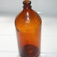 Brown Glass Clorox Bottle,Vintage Collectible,Home decor