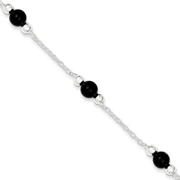 Sterling Silver 6mm Polished Onyx Anklet