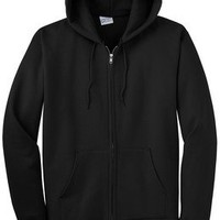 Solid Black Port Hoodie Sweater Zip Up