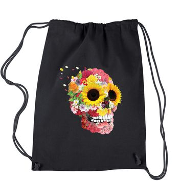 Sunflower Skull Drawstring Backpack