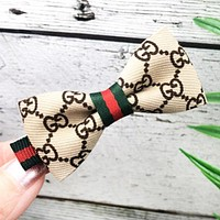 GUCCI Fashion New More Letter Stripe Bow-Knot Hair Clip Accessories Women Beige