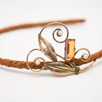 Bohemian Leather Covered Headband with Vintage Leaf Broach Hair Accessory Headband for Women Holiday Fashion