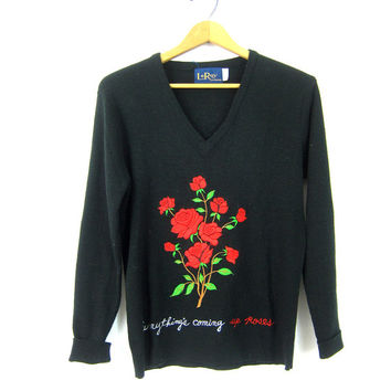 LeRoy Sweater Black Retro 1970s Sweater Red Black NOVELTY Sweater 1980s Shirt Everything is Coming Up Roses Embroidered Top Womens Medium