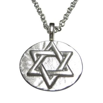 Silver Toned Round Jewish Religious Star of David Pendant Necklace