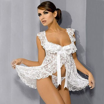 Sexy Lingerie Hot 2017 New White Lace Baby Doll Sexy Lingerie Plus Size 4XL Bridal Nightgown Sets