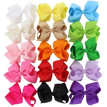 4.5in Solid Baby Girls Clip Hair Bows Large Set Of 15 Color